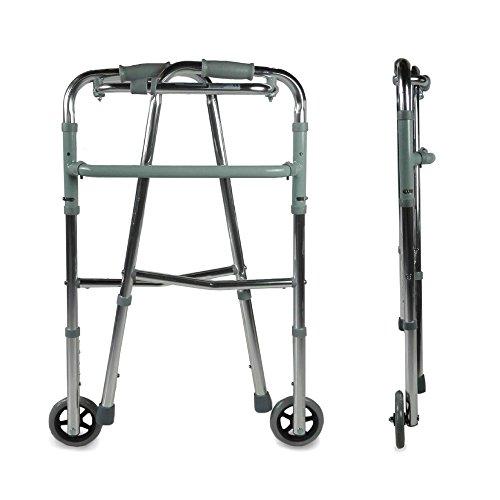 41CEDXJYQjL - Mobiclinic, Modelo Capitel, Andador para mayores, ancianos, adultos o minusvalidos, de aluminio, ligero, plegable, con asiento y 2 ruedas, Color Gris