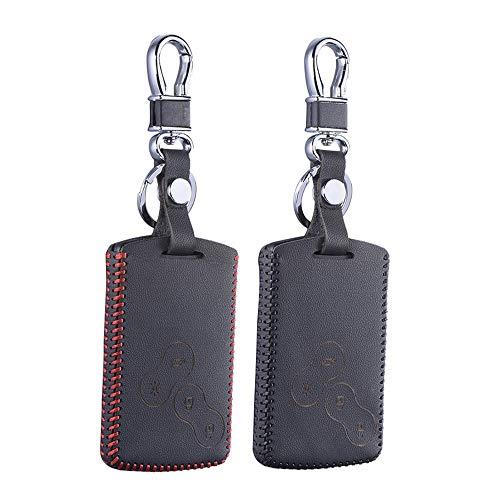 Key Case Top Leather Key Cover for Renault Megane 1 2 3 Koleos Laguna 2 3 Sandero Scenic Captur Clio Duster Fluence Case Shell Keychain - (Color Name: single layer black)