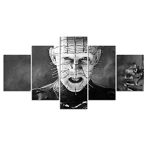 ADGUH LeinwanddruckeHorrorfilm Charactor Poster Hellraiser Leinwand Malerei 5 Stück Tag der Toten Wandkunst Bilder Wohnkultur Leinwand Kunstdrucke5Drucke auf Leinwand