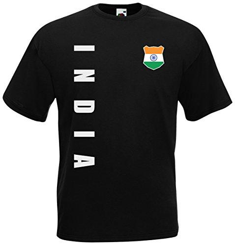 Indien India WM-2022 T-Shirt Trikot Wunschname Nummer Schwarz XL