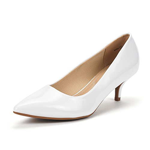 DREAM PAIRS Women's Moda White Pat Low Heel D'Orsay Pointed Toe Pump Shoes Size 11 M US