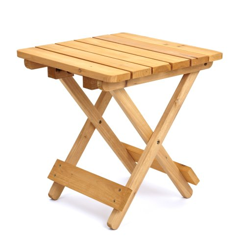 Trueshopping Square Folding Wooden Garden Table - Foldaway Garden Coffee Side Table Suitable for Indoor and Outdoor Use - Ideal for Garden, Balcony, Patio, Bistro, Dining, Drinks and More