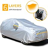 Car Covers Waterproof,Car Cover for Sedan 6 Layers Outdoor Protection Universal Full Cover with Zipper A6-YXL(Fits SUV 188' to 200')