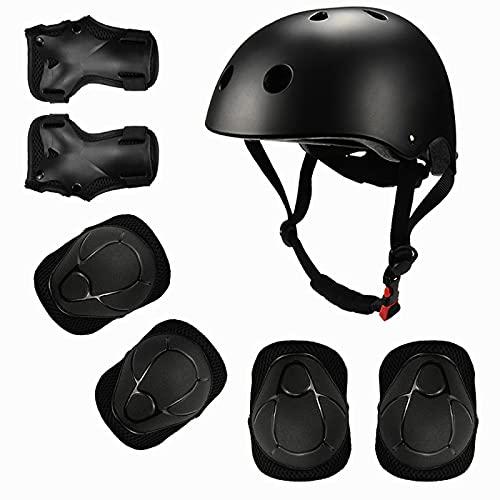 Casco para niños y niñas, casco de bicicleta + 6 juegos de equipo de protección, casco de skate para niños y niñas, casco ajustable, para patinaje, patinaje, patinaje, monopatín, color negro