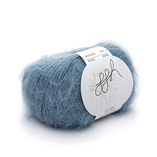 ggh Suri Alpaka, Farbe:011 - Graublau, 100% Alpakawolle, 25g Wolle als Knäuel, Lauflänge ca.133m, Verbrauch 175g, Nadelstärke 3-4, Stricken