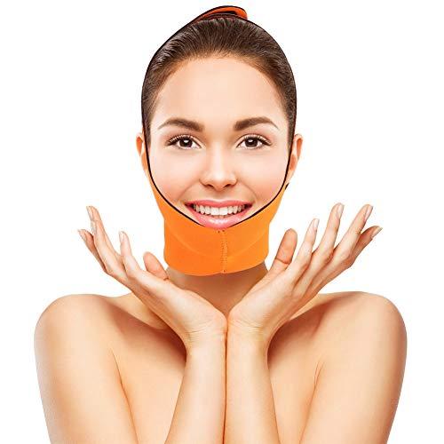 Máscara de adelgazamiento facial, vendaje de adelgazamiento facial Máscara de cinturón de ayuda Lifting V Face Line Reducir traje de doble correa de piel de Chin para mujer y hombre(naranja)