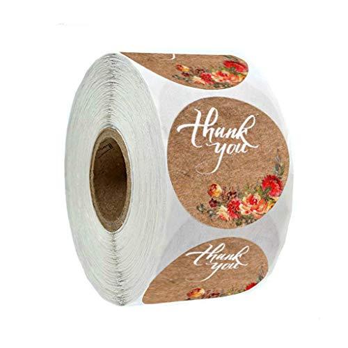 500 pegatinas redondas de agradecimiento florales para fiestas de boda hechas a mano