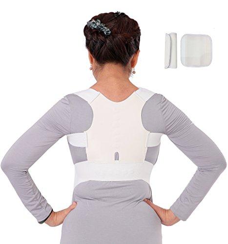 Corset ortopédico, corrector postural, faja lumbar para dolores de espalda, para hombre y mujer. Color negro y blanco, talla S hasta XXL 60cm hasta 110 cm de contorno de pecho