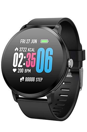 Smartwatch Herren Pulsuhren Damen Schrittzahler Sportuhren mit Blutdruckmessung Touchscreen Laufuhr Blutdruck Uhr Schlafmonitor Fitness Armbanduhr Rund Smart Watch für IOS Android