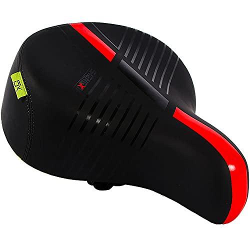 TTZHJIN Sillín de bicicleta de asiento de bicicleta lenient grueso suave y cómodo, accesorios de poliuretano doble resorte, absorción de golpes, fitness, 4 colores, rojo - 31 × 28 cm