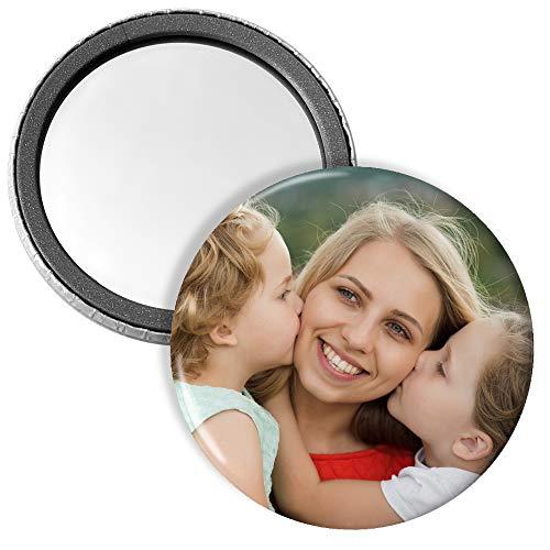 LolaPix Espejo Personalizado Bolsillo Chapa Espejo con Foto. Regalos Personalizados con Foto. 59mm Ø. Varias Cantidades Disponibles. 25 Chapas Espejo Personalizadas con Foto
