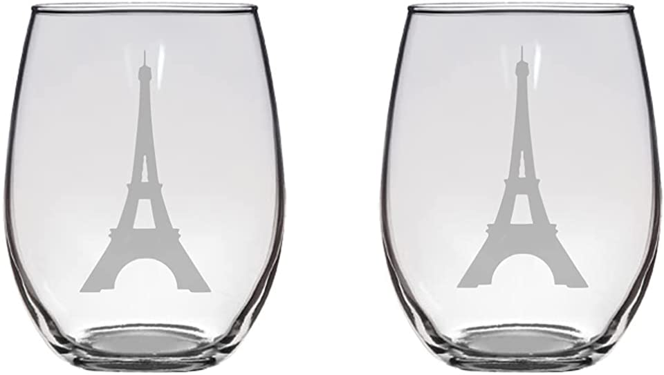 Eiffel Tower Etched 20.5 Stemless Wine Glasses Set of Two