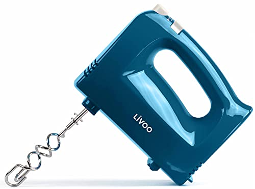 Handmixer Rührgeräte für Küche 5 Stufen Handrührer Handrührgerät (Knethaken, Rührbesen, 200 Watt, Auswurftaste, Mixer, Rührer, Blau, inkl. 2 Rührbesen und 2 Knethaken)