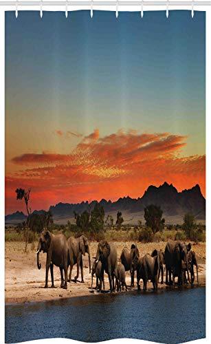 ABAKUHAUS Elefant Schmaler Duschvorhang, Afrika Safari Wildlife, Badezimmer Deko Set aus Stoff mit Haken, 120 x 180 cm, Hellblau Orange Braun