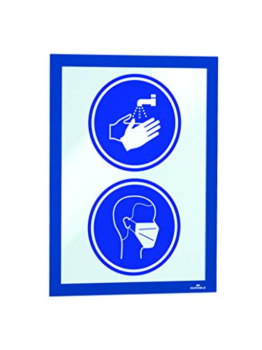 Durable 488207 Info-Rahmen Duraframe (A4, selbstklebend mit Magnetverschluss) 10 Stück, dunkelblau