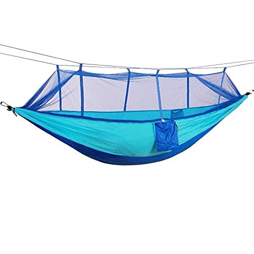 FCBF Hamaca de Camping de 440 Libras,2 Hebillas de Acero,2 Cuerdas de mosquitero,2 Bolsas de Almacenamiento hamacas imprescindibles,21t Nylon Doble Hamaca (Color : Blue)