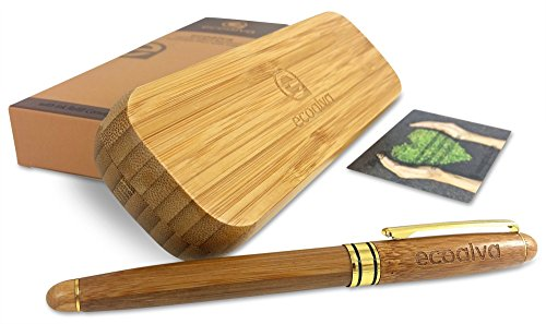 ecoalva Premium Refillable Handcrafted Bamboo Case Fountain Pen Writing Set for Signatures and Calligraphy, Luxury Gift Bundle with Ink Refill Convertor Fancy Pens