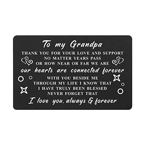 gifts for grandfathers Grandpa Gifts Card from Granddaughter Grandson, Thank You Grandpa I Love You, Grandpa Wallet Card Insert, Birthday Gifts from Grandchildren, Fathers Day for Grandfather, Christmas Presents
