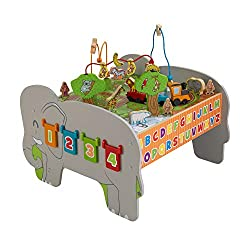 KidKraft Colorful Wooden Animal Toddler Activity Station