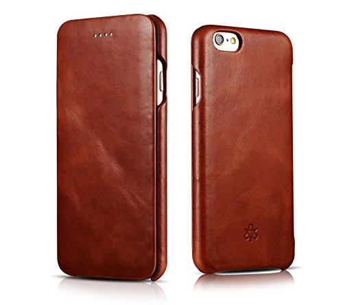 NOVADA Custodia in Vera Pelle per iPhone 6 & 6S - Ultra Sottile Folio Flip Cover - Marrone