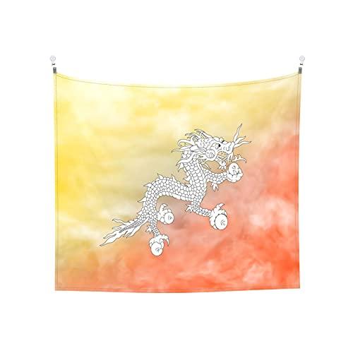 Bhutan-Flaggen Tapisserie Wandbehang Tarot-Boho, beliebte mystische Trippy-Yoga-Hippie-Wandteppiche für Wohnzimmer, Schlafzimmer, Wohnheim, Heimdekoration, schwarz & weiß Stranddecke
