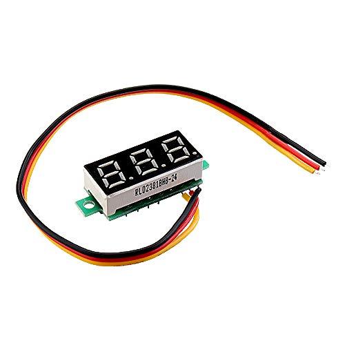 ILS - 3 stuks 0,28-inch driegeleider-0-100V digitale rode weergave DC voltmeter instelbare spanningsmeter