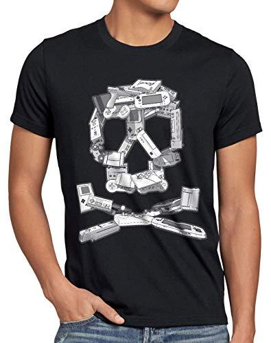 style3 Crâne Jeu Vidéo T-Shirt Homme Super Jeu vidéo Kart Console Zelda Mario Sonic wii, Taille:M, Couleur:Noir