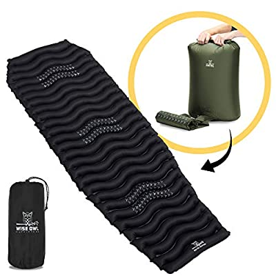 Wise Owl Outfitters Camping Pad - Premium Inflatable Camping Sleeping Pad for Outdoor and Backpacking - Ultralight Compressible Camping Mat - Bubble and Wave Design with Air Inflator Pump Included
