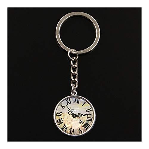 XUANLAN Kreativer Schlüsselanhänger Schlüsselanhänger Schmuck mit Silber-Farben-Gebäude Uhr-Taschen-Uhren Glascabochon Autozubehör Schlüsselanhänger Ring for Unisex Sicherer Schlüsselring