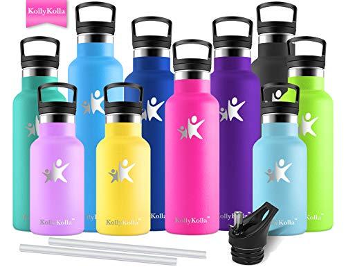 KollyKolla Vakuum-Isolierte Edelstahl Trinkflasche, 750ml BPA-frei Wasserflasche mit Filter, Thermosflasche für Kinder, Mädchen, Schule, Kindergarten, Sport, Wandern, Camping, Outdoor, Rose Rot