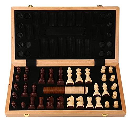 Juego de ajedrez de ajedrez de ajedrez, 2 en 1 Juegos de Mesa, con el Interior del Juego de Juegos de Fieltro para el Almacenamiento (Size : 42x42cm)