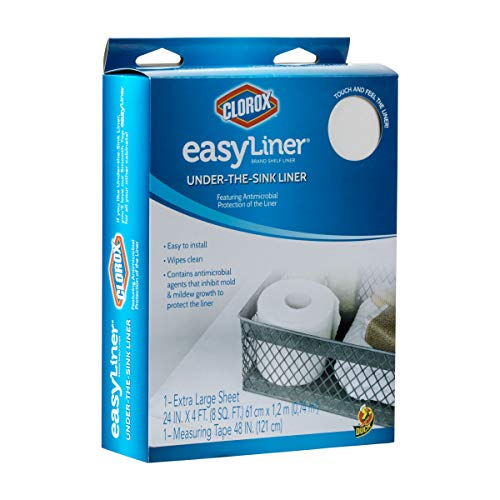 Duck Brand 285341 Under-The-Sink Easy Liner with Clorox Shelf Liner, 24 Inches x 4 Feet, White