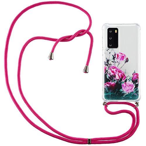 Nadoli Handykette Hülle für Huawei P40 Pro,Weich Handyhülle mit Kordel zum Umhängen Necklace Cover mit Band Schutzhülle Halsband Case mit Umhängeband,Rose Blume