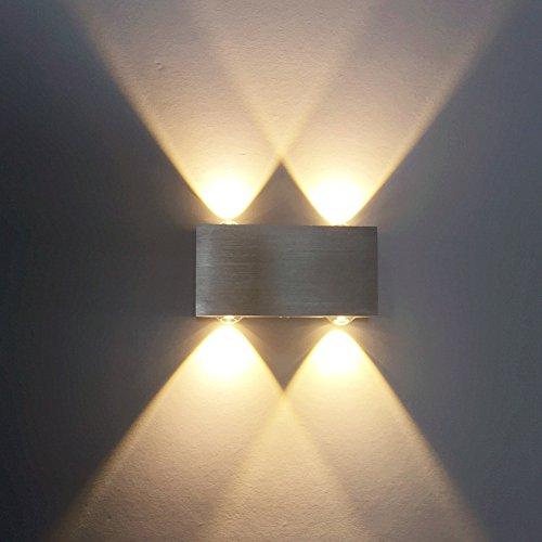 ETiME LED Wandleuchte 4W Wandlampe Warmweiss 2700K UP & Down Aluminium (4W Warmweiss (4 LEDs)