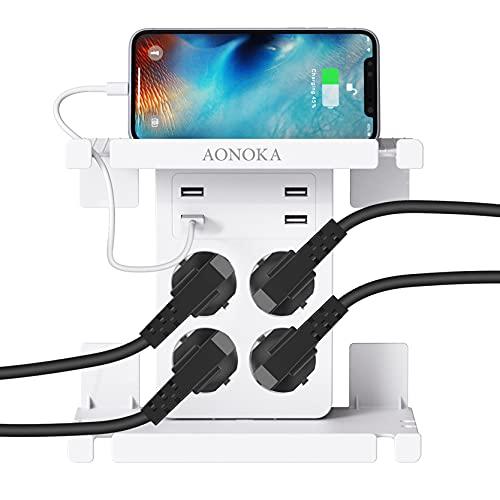 USB Doppelsteckdose Steckdose,Steckdosenleiste USB, Mehrfachsteckdosen 4 Fach mit 4 USB(5V/2.4A), Steckdosen Adapter für Schuko Steckdose, USB Ladestation für Smart Phone/Lautsprecher,4000W/16A