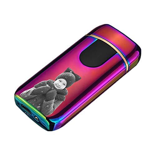NA USB Personalized Fingerprint Lighter Kreatives Winddichtes Wiederaufladbares Feuerzeug Für Herren(Farbe einseitig 77 * 35 * 14mm/3.0 * 1.3 * 0.5 in)