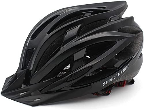自転車 ヘルメット大人用 調整可能 サイクリングヘルメット 軽量 流線型 ロードバイクヘルメット 脱着可能シールド 23通気ホール 自転車ヘルメット 耐衝撃 高剛性 LEDライト 男女兼用 ブラック