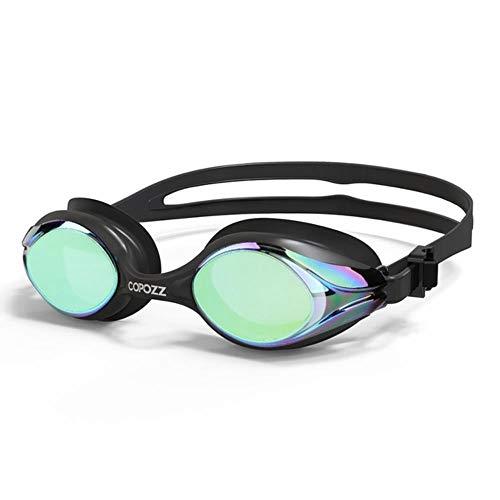 HPPL copozz Profesional Hombres Mujeres Gafas de natación antiva vaho protección UV Gafas de natación Gafas de Agua para Adultos Ajustables zwembril, Espejo Dorado