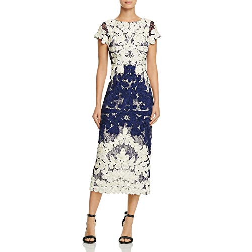 JS Collection Women's Short Sleeve Embroidered Midi, Ivory/Navy, 14 -  JS Collection Women's Dresses, 865626
