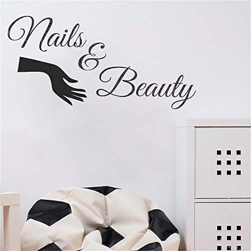 JXLLCD Nail Salon Vinyle Autocollant Mural Ongles et Salon polonais Vernis manucure Stickers muraux Salon Nail Bar fenêtre décoration58x30 cm