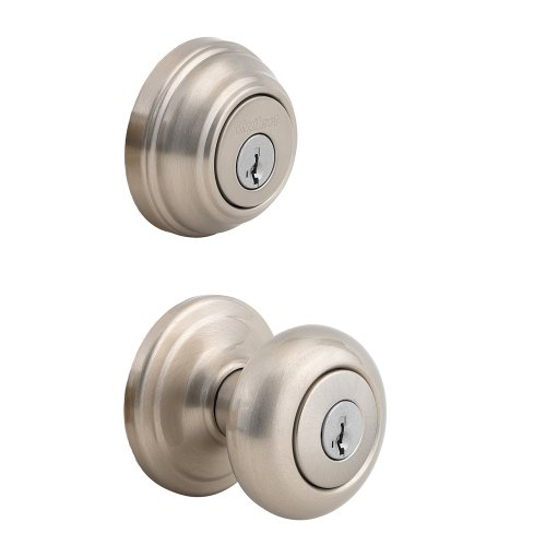 Kwikset 992 Juno Entry Knob and Double Cylinder Deadbolt (Keyed on both side) Combo Pack featuring SmartKey in Satin Nickel (Deadbolt Lock With Key On Both Sides)
