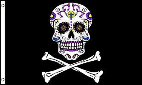 Zenda 3'x5' Pirate Sugar Skull Flag Jolly Roger Banner Cross Bones Day of The Dead 3X5