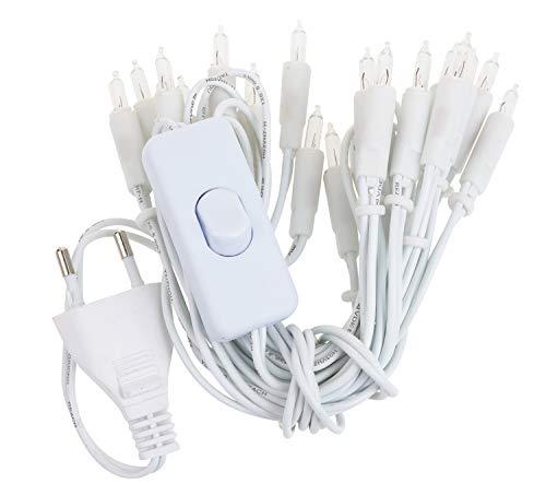 Lichterkette 20 Lämpchen Dioden warmweiß ca. 3 m - Mit Strom-Stecker & Schalter für Innen - Für ein gemütliches Zuhause