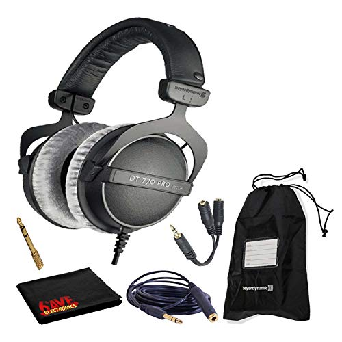 Beyerdynamic DT 770 Pro 80 Ohm Closed-Back Studio Mixing Headphones Bundle -Includes- Soft Case, Headphone Splitter and Extension Cable, and 6AVE Cleaning Cloth