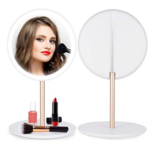 Vokmon Schminkspiegel mit Licht Kosmetikspiegel Beleuchtung led Rund Tisch Schlafzimmer Spiegel mit ablage Tischspiegel badspiegel Taschenspiegel für Schminktisch,Schlafzimmer,Badezimmer