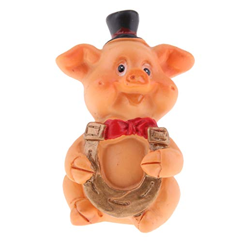 perfeclan Schwein Haus Ornament Blumentopf, Mini süße Figur zum Deko, Glück Bringen - Hufeisen