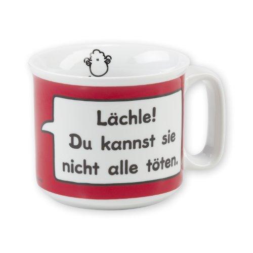 """Sheepworld 42662 Tasse """"Lächle! Du kannst sie nicht alle töten."""", Porzellan, 40 cl"""