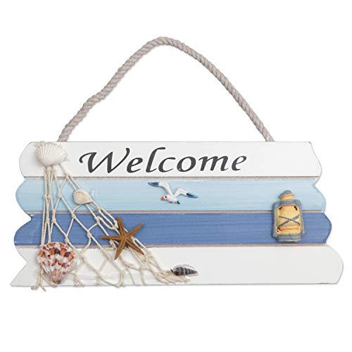 Cartel de bienvenida colgante de madera Estilo de playa Cartel de bienvenida colgante para puerta Colgante Pared colgante Cartel de bienvenida para playa Barco Seaside Adornos de placa temática (S)