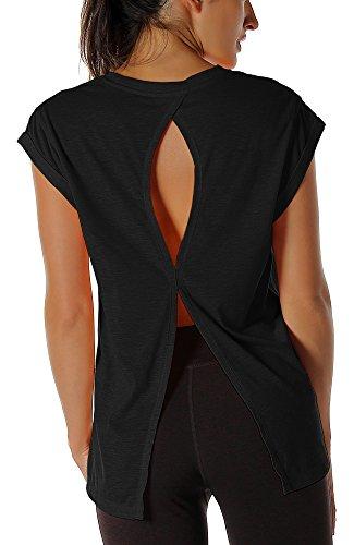 icyzone Damen Fitness-Trainings Kurzarm Shirt Rundhals Top unifarbenes Sport T-Shirt Lang (XL, Black)