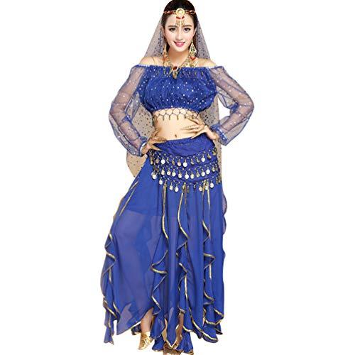 TianBin Paillettes Danza del Ventre Costume per Donna Indiano Danza Vestiti con Molti Accessori (Zaffiro#2, Taglia Unica)